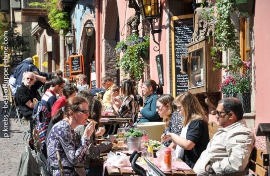 Terrasse au restaurant Dolder à Riquewihr